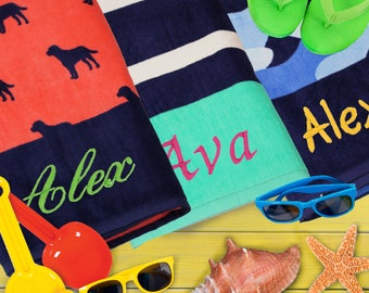 Personalized Kids Beach Towel, Monogram Beach Towel, Gifts for Kids, Embroidered Beach Towels, Pool Towel, Beach Towel Kids, Custom Towel