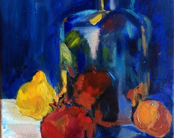 Still Life Oil Painting - Original Oil Painting - Two Pomegranates, Lemon and Bottle