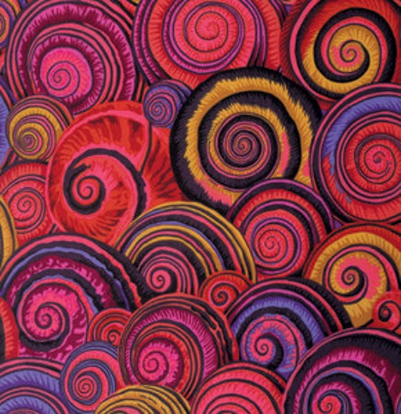 SPIRAL SHELLS RED PJ073 by Philip Jacobs for Kaffe Fassett Collective Sold in 1/2 yd increments