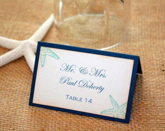 100 Starfish Wedding/Shower Place Cards - Printed