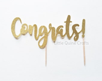 1 pc CONGRATS! script fonts gold glitter wedding bridal Shower bachelorette birthday graduation party cake topper