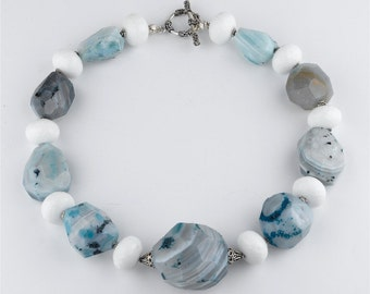 Blue and White Agate Sterling Silver Statement Necklace