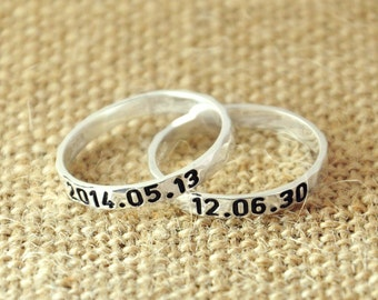 Customized Couples Rings, Hammered Sterling silver ring set, Hand Stamped Rings, Engraved date Personalized couples ring, Couples Valentines