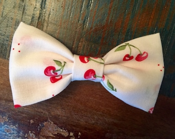 Cloth Bow Hair Clip - White with Cherries -- by Antique Elephant