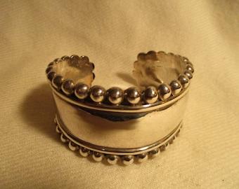 Vintage sterling silver wide cuff bracelet