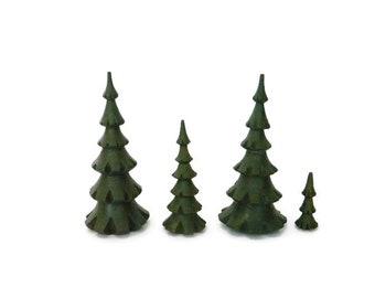 Miniature Solid Wood Evergreen Trees, Pine Trees, Christmas Trees