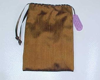 "Silk Tarot Bag, Brown Rune Bag, 6.5""X4.5"", Cotton Lining, Sturdy Drawstring Pouch, Ready To Ship, Treasure Bag, Medicine Pouch."