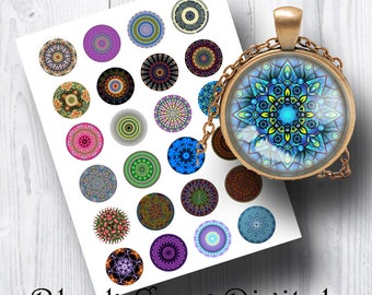 """Mandalas Digital Collage Sheet 1.5"""" Circles; Images for Pendants, Jewelry, Necklaces; Cupcake Toppers, Scrapbooking, Cabochons, Altered Art"""