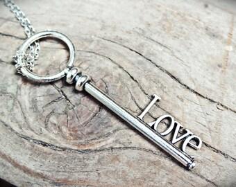 LOVE key pendant. Antique silver.