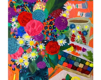 Painting Flowers • giclee art print • flower • watercolorist • florist • whimsical • colorful •fun •gift • office • floral • spring • artist