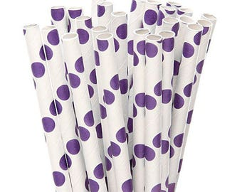 Beautiful Purple Polka Dots Paper Straws, Unicorn, Spring, Summer, Garden, Floral, Birthday Party Decor, Supplies, Baby Shower, Candy Apple