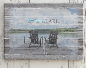 Custom Lake Name Sign, Personalized Lake House Decor, Photo Gift Idea, Your Lake Name Canvas, Personalized Photo Gift Idea, Lake Home Gift