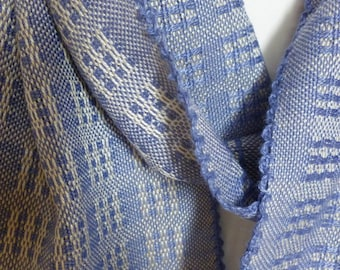 Blue and Cream Bamboo and Tencel Scarf