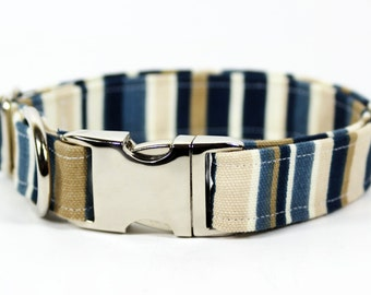 "Stripped blue and tan male dog collar -  ""The Blue Period"""