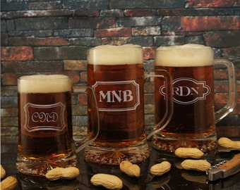 Gladiator Series Personalized Beer Mug with Engraved Design Options & Font Selection OPTIONAL Monogrammed Magnetic Bottle Opener (Each)