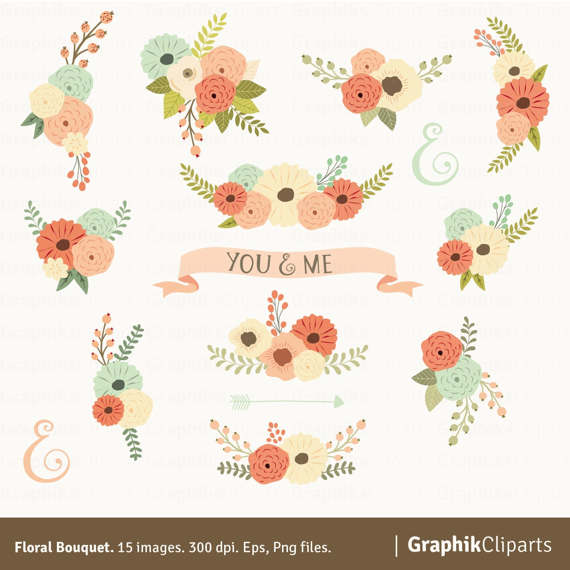 Floral Bouquet Clipart. Vector Flowers. Wedding Flowers. Spring ...