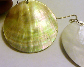 Vintage Mother Of Pearl Abalone Shell Med Disc Dangle Earrings