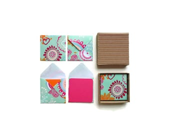 Flowers on Mint Green Envelopes - Mini Stationery Set