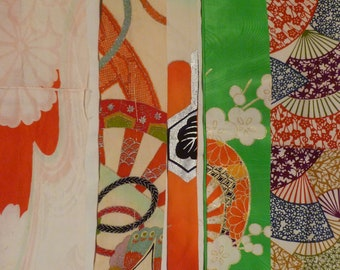 Assorted Antique / Vintage Japanese Kimono Fabric 100g - long strip08