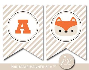 Fox banner, Woodland baby shower banner, Woodland birthday banner, Woodland bunting, Woodland garland, PB-595