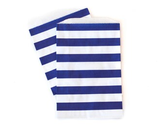 Navy Striped Bags // Nautical Favor Bags // Treat Bags // Flat Paper Bags 7.5x5 (Set of 25)