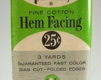 Vintage Cotton Bias Cut Hem Facing, Pink, (3) Yards, Folded Edges, Trimtex, 1960's, Sewing Supplies