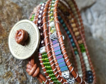 CATALOOCHEE Leather Triple Wrap Bracelet with Brass Coin and Gorgeous Beading!