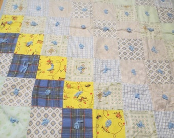 """Cotton and Flannel Cowboy Indian Childs Quilt /  Western Quilt / Cowboy Quilt / Baby Quilt Childs Quilt 34 x 45"""""""