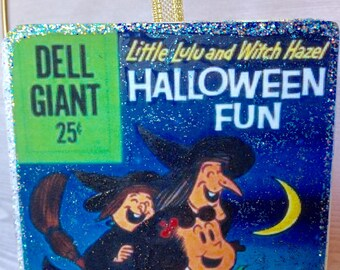 Vintage Christmas Ornaments, Decoupage, Halloween Ornament, Dell Comic Cover Little Lulu and Witch Hazel Wood Glitter 1970's Cartoon
