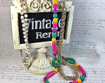 Lot three necklaces from the 80's and 90's beaded colorful gold mega chain