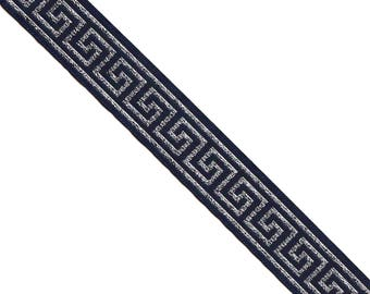 15 Yards Metallic Greek Key Jacquard Ribbon