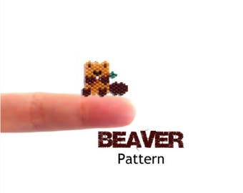 Peyote or Brick Stitch Beading Pattern - Beaver Charm, Earring, Pendant, Jewelry Component - Miyuki Delica Beads