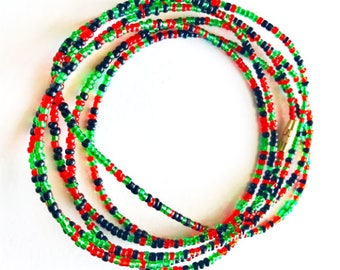 Kwanzaa waistbeads - African Pride Wiastbeads - Belly Chains - Waist beads with clasps