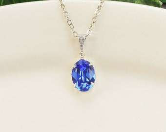 Sapphire Necklace - Silver Cobalt Blue Swarovski Crystal Necklace - Royal Blue Pendant Necklace - Blue Bridesmaid Jewelry - Wedding Jewelry