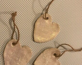 Clay hanging heart with clear sparkly glitter