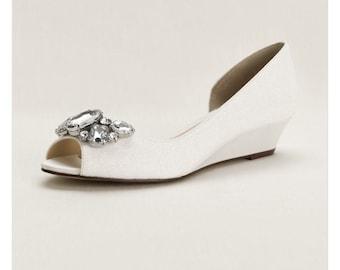 Crystal Peep Toe Wedge, White wedding wedges, bridal shoes