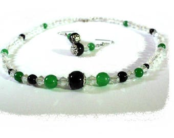 Green and black duo set, necklace and earrings