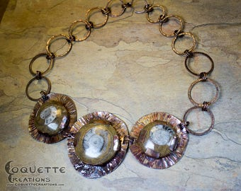 Ammonite Fossil Hammered Copper Necklace