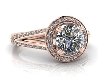 Split Shank Moissanite Engagement Ring Diamond Halo -  Ivy