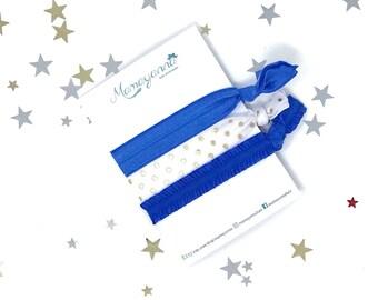 Royal blue elastic ribbon hair ties set of 3, polka dots plain & ruffled elastics, girl's hair ties, toddler hair ties, women's hair bands