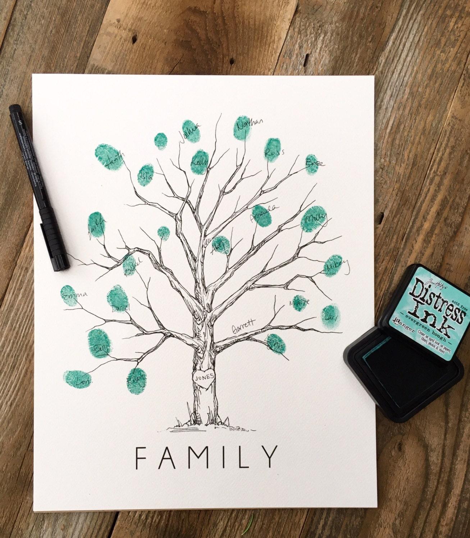 fingerprint tree family tree w ink pad pen thumbprint