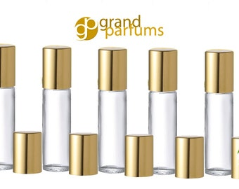 500 Bulk Lot Elegant 10ml Roller Ball Bottles GOLD or SILVER Caps Glass Roll-on Perfume Aromatherapy, Essential Oil Bottles w/ Metallic Caps