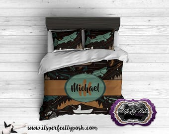Fishing Theme  Bedding Custom Design and Personalized Comforter or Duvet with Monogram