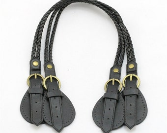 A Pair 24 inch Black PU Leather / Pleather Weave Shoulder Bag Purse Handle / Wrist Strap