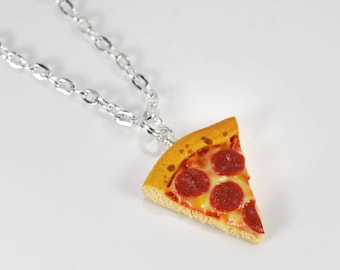 Peperoni Pizza Necklace - Handmade from polymer clay
