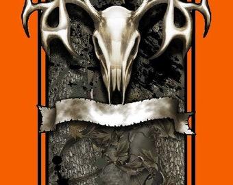 Orange camouflage tribal deer skull hunting Cornhole board game decal wraps