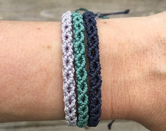 SALE Micro-Macrame Adjustable Bracelet Stack - Lilac, Vintage Jade and Navy