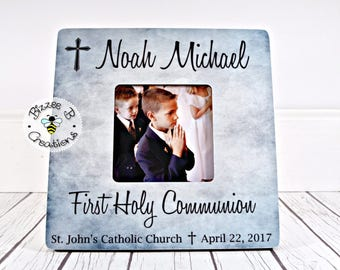 ON SALE First Communion Picture Frame, First Holy Communion, Gift for First Communion, Communion Gift for Boy, Child's First Communion
