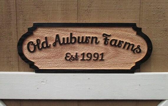 Oak Wood Signs ~ Wood farm sign personalized signs custom red oak