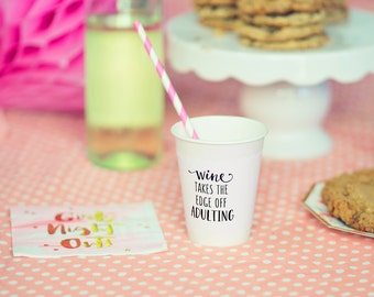 Pink Polka Dot Cup Sleeves, Wine Takes The Edge Off Adulting, Cup Wrappers, Paper Cup Sleeves